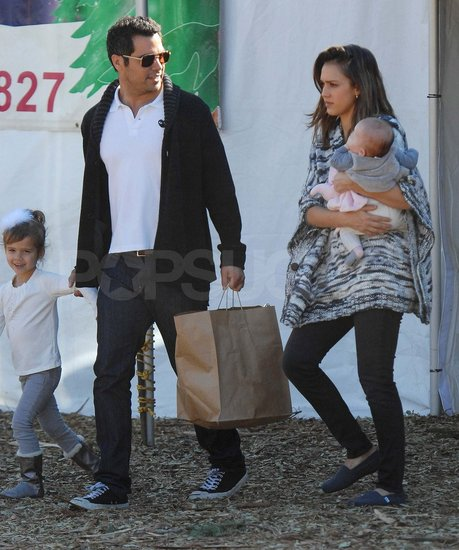 Jessica Alba and Cash Warren pick out a Christmas tree with Haven and Honor.