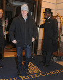 Matt Damon was in high spirits leaving the hotel.