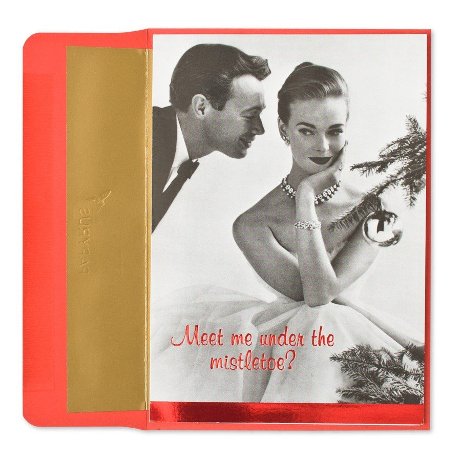 """This Christmas Courting card reads: """" Meet me under the mistletoe? . . . or under the covers. I'm flexible. Merry Christmas!"""""""