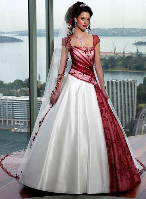 Love Suhana: Red and White Fusion Wedding Gown