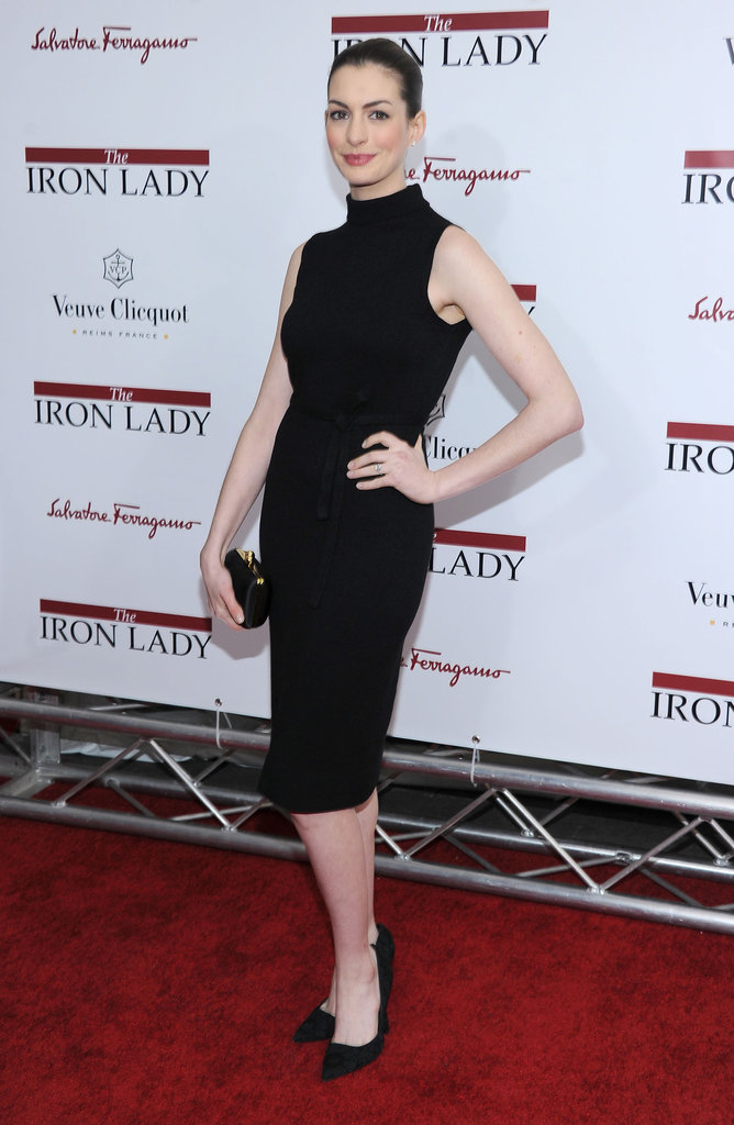Anne Hathaway wore an all-black ensemble to The Iron Lady premiere.