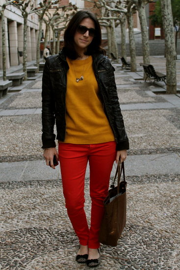 Color denim, leopard flats, mustard