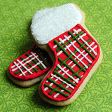 Plaid Christmas Stocking Sugar Cookies