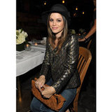 Rachel Bilson opted for a metallic and black brocade jacket at a Nylon  event in November 2011.  Shop the look: