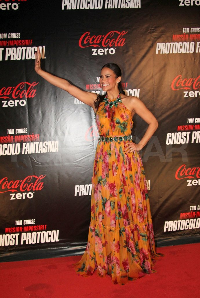 Paula Patton worked many poses on the red carpet in Brazil.
