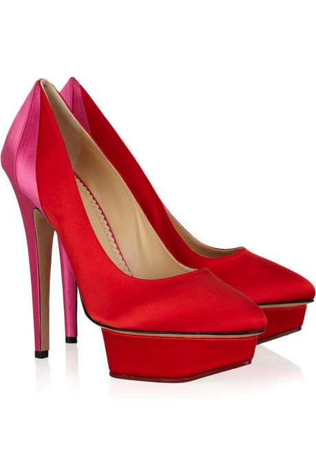 Nothing says festive like a pair of red satin platform pumps.  Charlotte Olympia Masako Silk-Satin Pumps ($875)