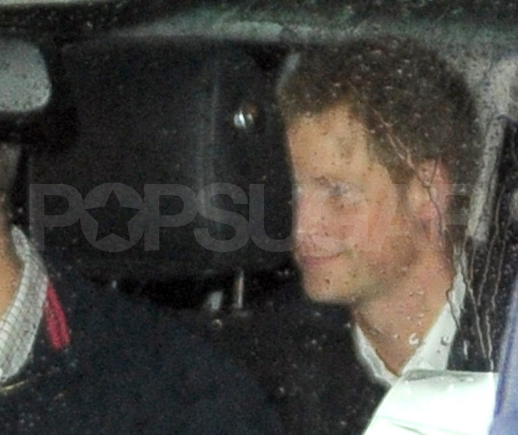 Prince Harry headed home in rainy London.