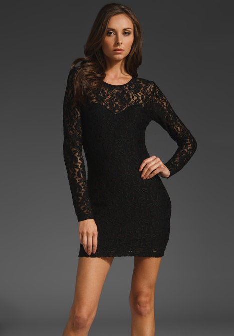 Posh with sexy undertones, thanks to sheer, lacy sleeves and a curve-hugging fit.  Motel Elsa Rose Lace Dress ($80)