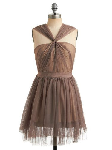 We love the ultra-girlie tulle and the great neckline.  ModCloth Light of the Silvery Plume Dress ($88)