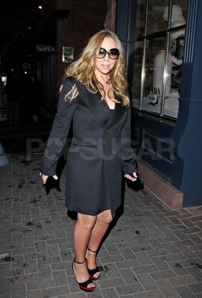 Mariah Carey wearing sandals in Aspen.