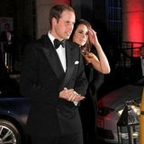 Kate Middleton in Strapless Black McQueen Dress Pictures with Prince William at The Sun Military Awards