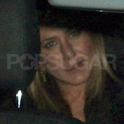 Jennifer Aniston headed home after dinner with Justin Theroux.