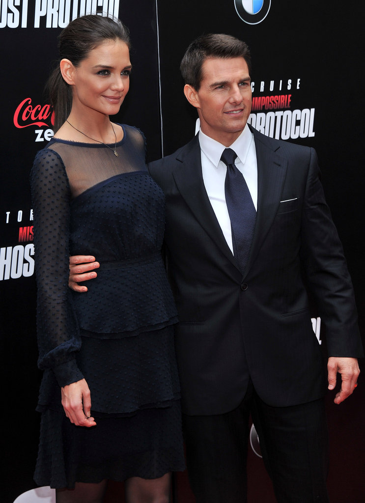 Tom Cruise and Katie Holmes pose at the NYC premiere of MI4.