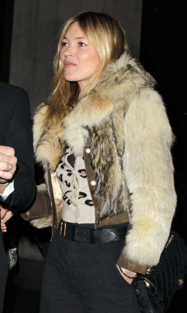 Kate Moss dressed up for dinner in London.