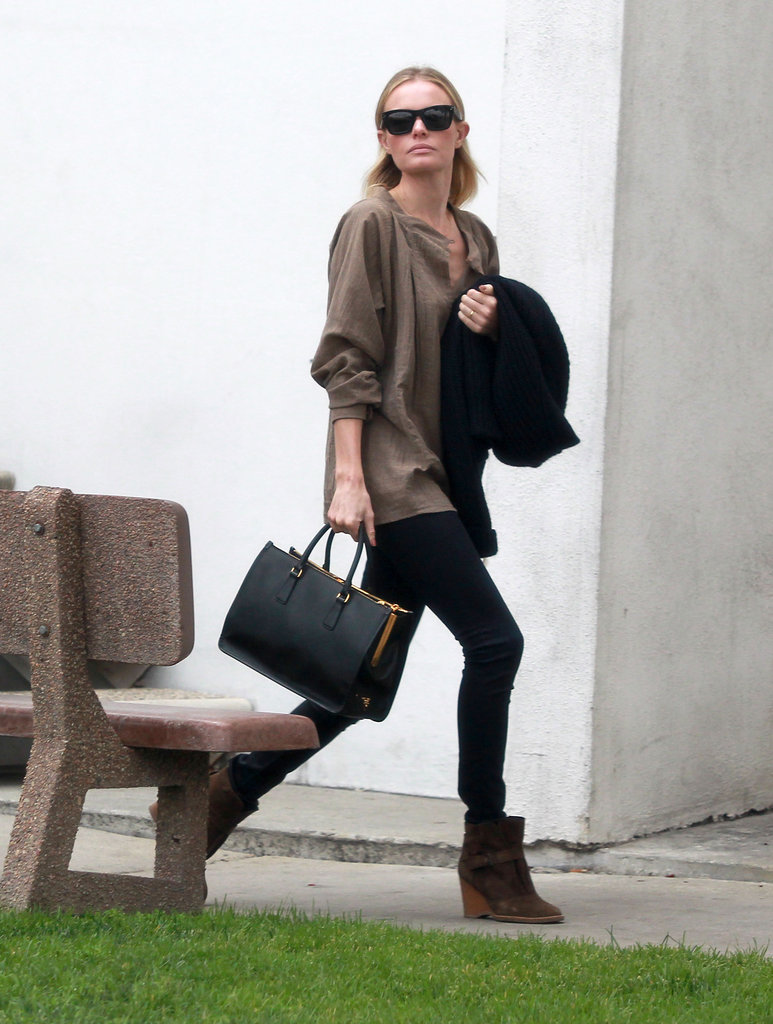 Kate Bosworth was chic in neutral basics.