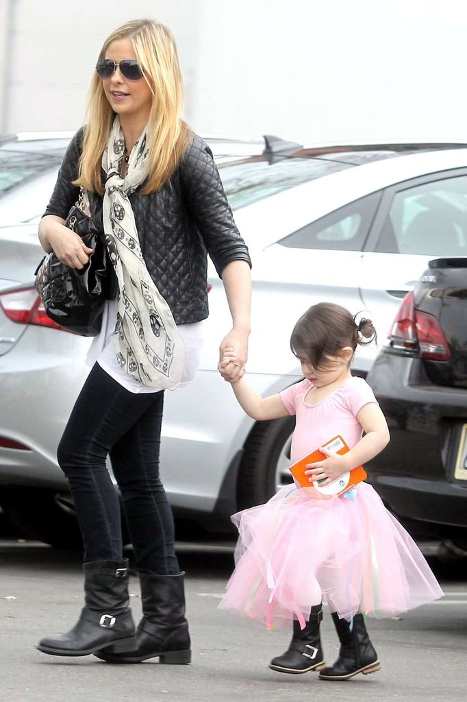 Charlotte Prinze carried a storybook as her mom Sarah Michelle Gellar picked her up from dance class.