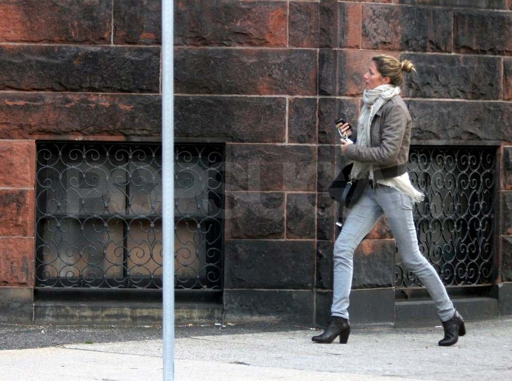 Gisele Bundchen outside of her house in Boston.