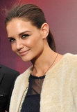 Katie Holmes stayed warm in a furry coat.