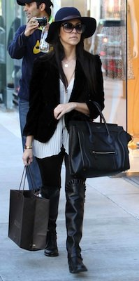 Kourtney Kardashian in Valentino Boots With Celine Handbag