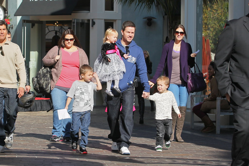 Mark Wahlberg and Rhea Durham at The Grove with their children Brendan, Michael, Ella, and Grace.