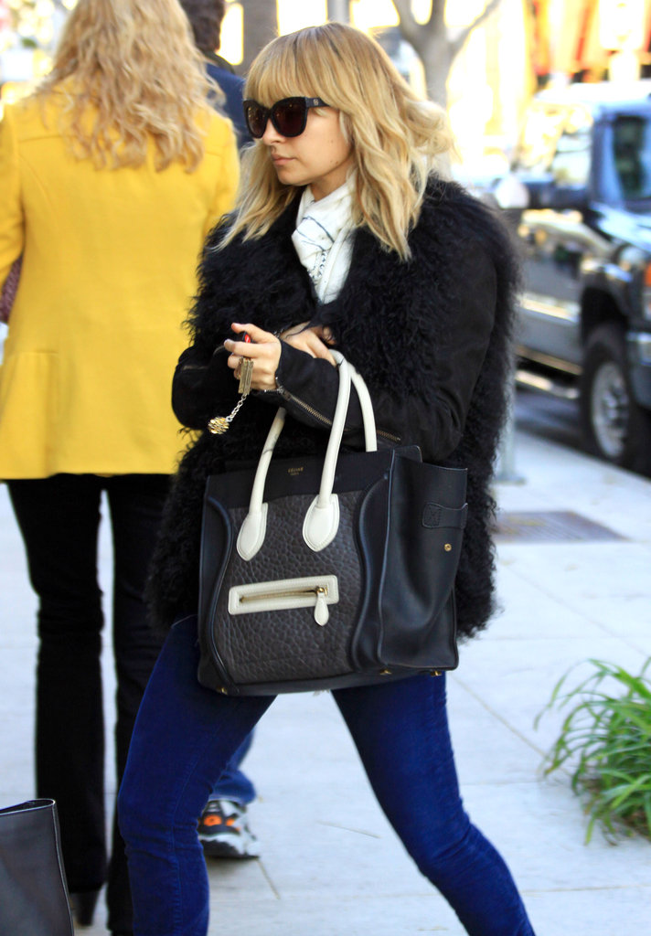 Nicole Richie wore a furry jacket.