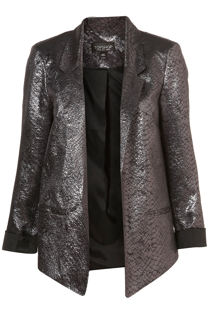 Add this gunmetal metallic blazer to spice up a LBD.  Topshop Co-ord Pewter Metallic Blazer ($130)