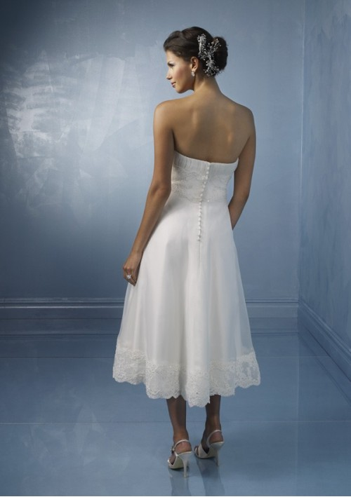 Strapless tea length wedding dress set the amazing organza in aline short