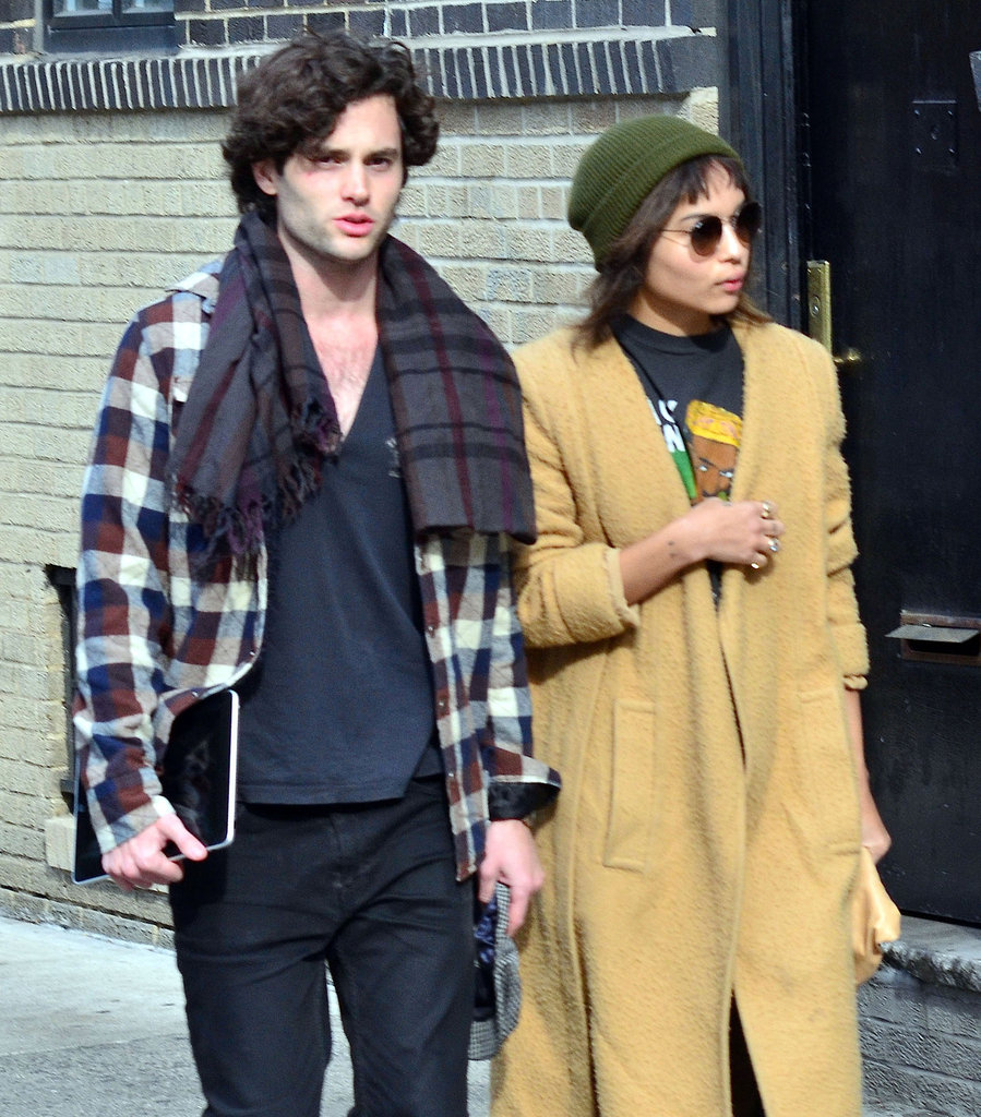 Penn Badgley holds on to his iPad in NYC.