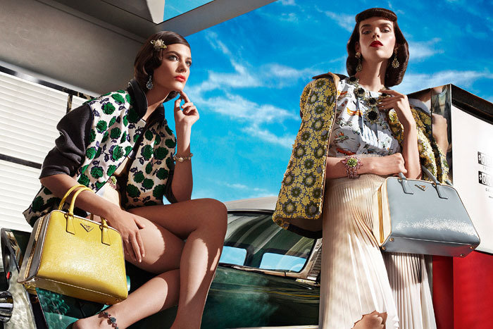 Prada's Spring 2012 ad campaign traveled in time for a burst of retro glam. Source: Fashion Gone Rogue