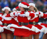 The Buffalo Jills cheerleaders get to cover their stomachs from the cold.