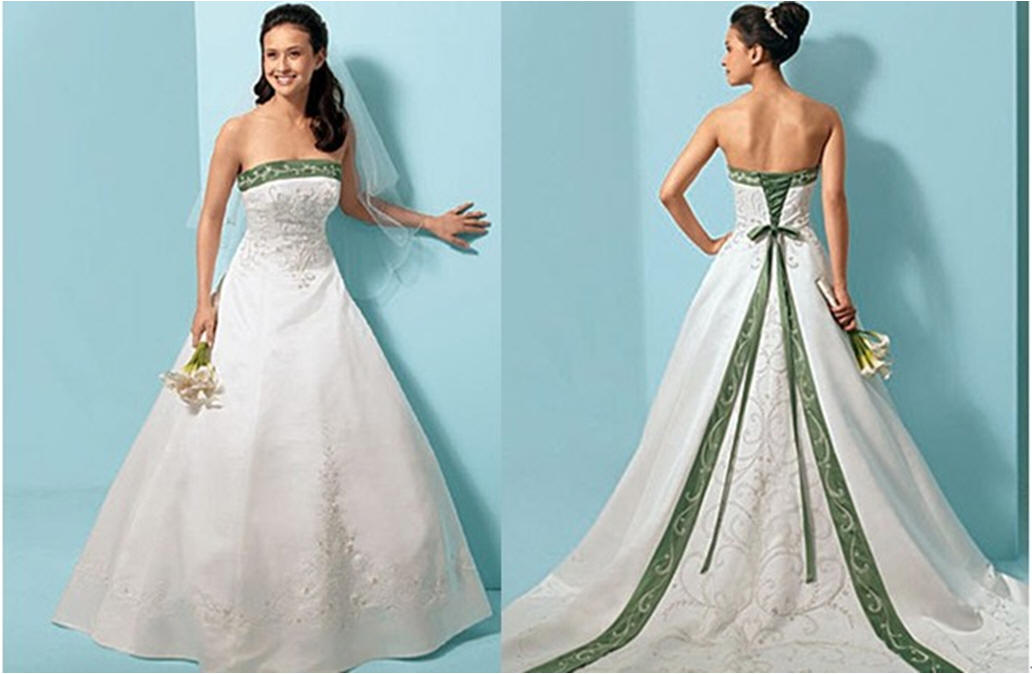 White and green wedding dresses give the white as the dominant color while