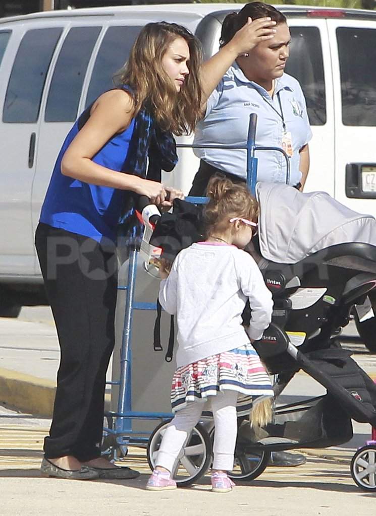Jessica Alba and Honor Warren waited to get into a car in Mexico.