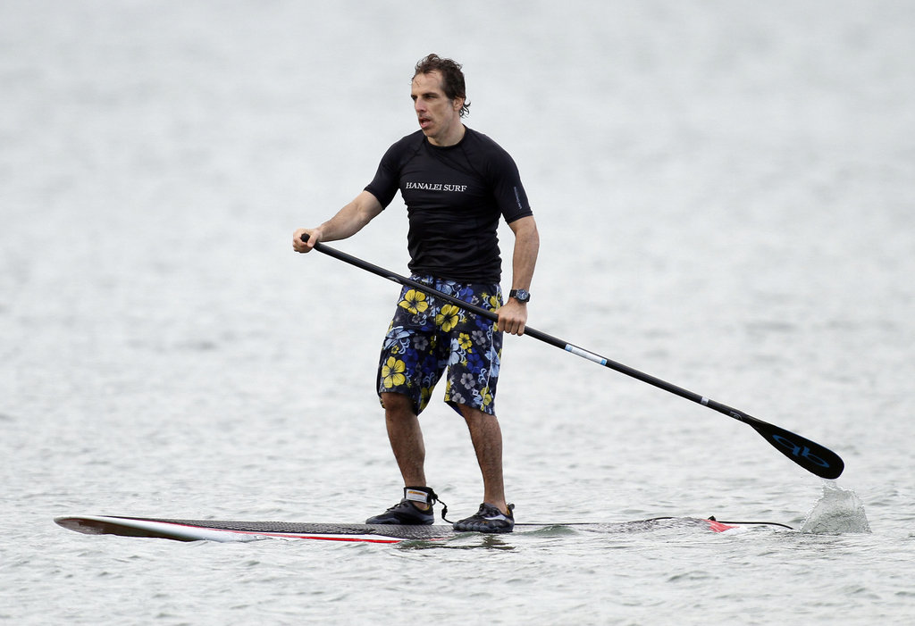 Ben Stiller balanced on his paddleboard in Hawaii in December 2011.