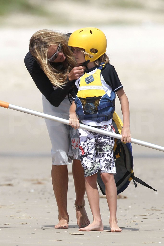 Elle MacPherson got her little guy ready to kayak.