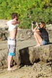 Miley Cyrus and Shirtless Liam Hemsworth Show PDA During a Sunny Photo Shoot