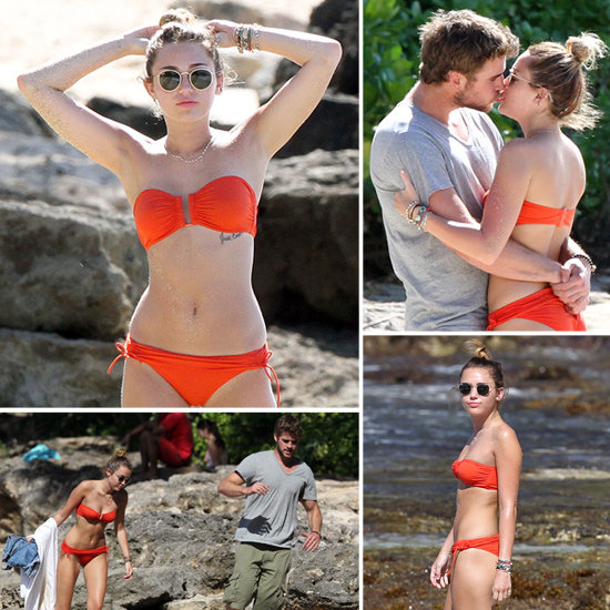 A Bikini-Clad Miley Cyrus Spends Some Beach Time With Liam