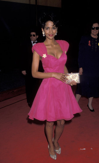 Halle Berry wore a bright pink dress and a short haircut in 1993.