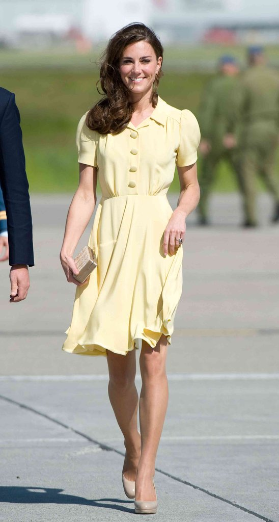 The Duchess of Cambridge stunned in a sweet yellow silk crepe Jenny Packham dress and her favorite L.K.Bennett beige pumps at Calgary Airport in September 2012.