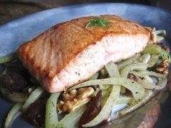Seared Salmon with Fennel, Walnuts, &amp; Dates