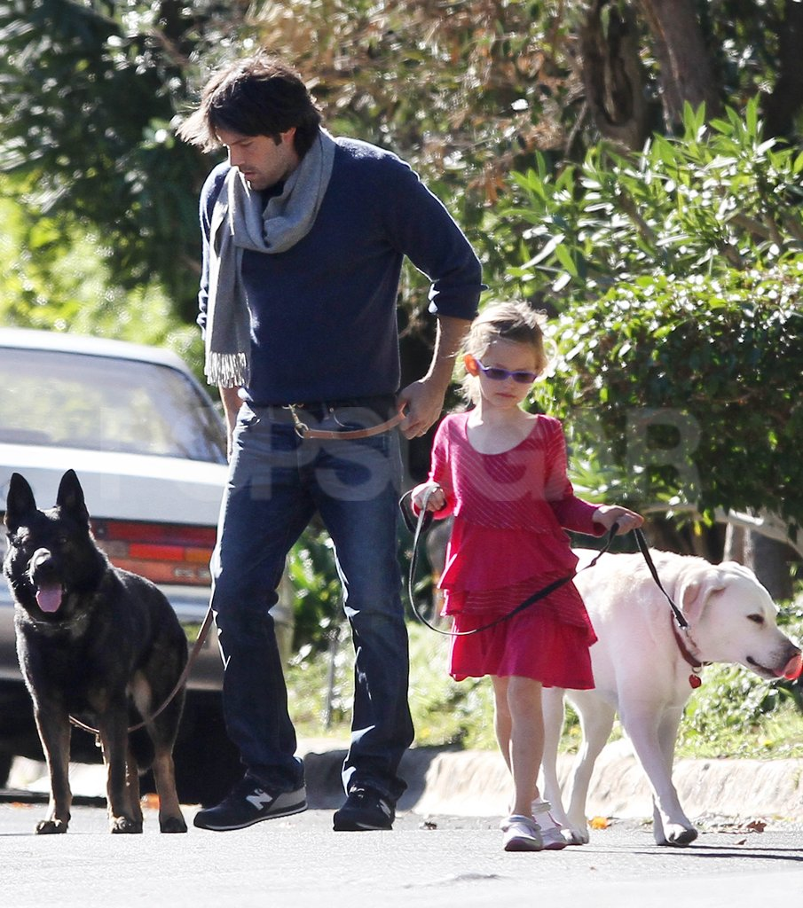 Ben Affleck and Violet Affleck both walked a dog in LA.