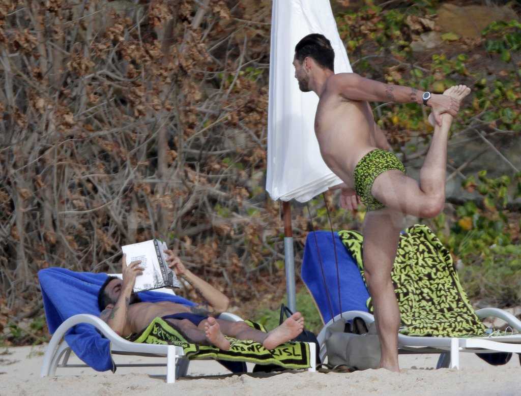 Lorenzo Martone did shirtless yoga for Marc Jacobs.