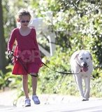 Violet Affleck loved walking her dog.
