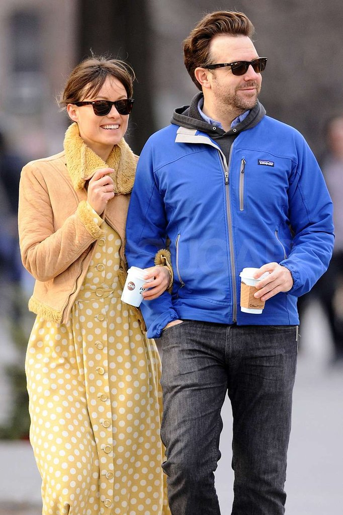 Olivia Wilde and Jason Sudeikis kept each other warm.