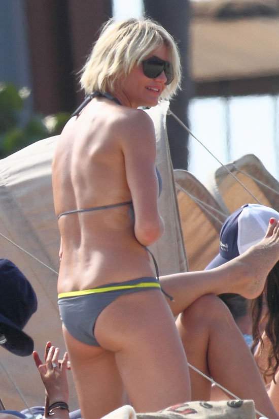 Cameron Diaz hit the beach in Hawaii in a gray bikini.