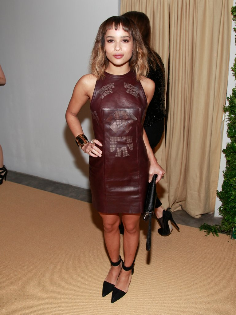 Zoe Kravitz wore an Alexander Wang leather minidress and black pointy pumps to a cocktail party in NYC.