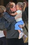 Jennifer Garner and Seraphina smooching at lunch.