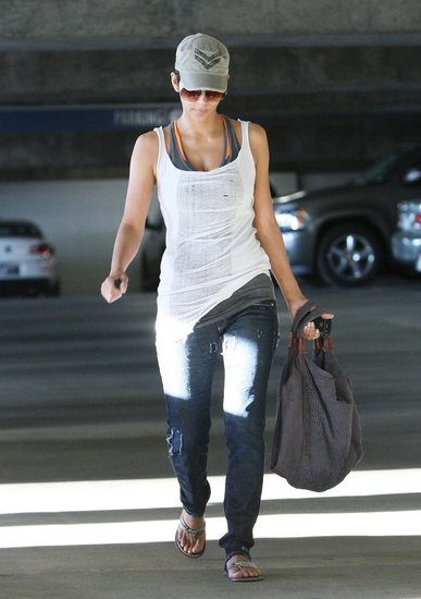 Halle Berry sported a baseball cap.