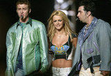 JT, Britney Spears, and Chris Kirkpatrick perform at the halftime show of Super Bowl XXXV in 2001.