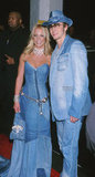 Britney and JT wear their infamous matching denim outfits at the American Music Awards in 2001.