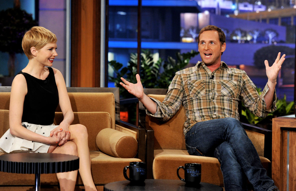 Michelle Williams smiled while Josh Lucas told a story.